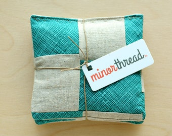 Organic Lavender Sachets in Patchwork Linen and Turquoise Set of 2 Scented Drawer Sachets