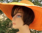 Orange Wide Brim Straw Hat Frank Olive