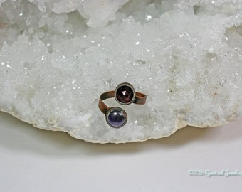 Garnet and Amethyst Ring | Adjustable | Electroform Ring | Double Stone | Size 9.5 Ring | Plus Size Ring | Wrap Ring | Boho | Gift for Her