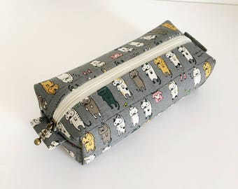 Long box pouch -Cats on clothesline in grey