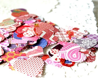 Heart Paper Shape Confetti, Heart Party Supply, Paper Hearts, Paper Die Cuts