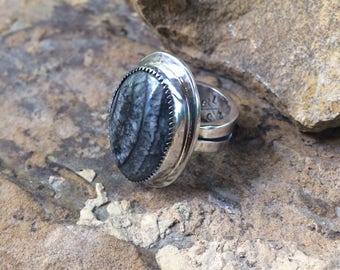"Orthoceras Cabochon ""Out with the Old"" Ring"