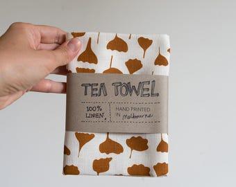 Linen Tea Towel - Flowers & Leaves pattern in ochre brown ecofriendly ink, hand screen printed in Melbourne