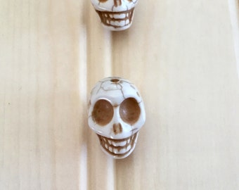 Skull Beads Off White Ivory so cool Punk Goth
