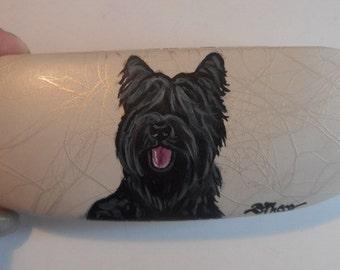 Black Briard Dog  Hand Painted Eyeglass Case Vegan