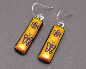Burnt orange custom etched butterfly daisy dichroic glass earrings Fused Glass jewelry glass dangle drop earrings  sterling silver ear wires