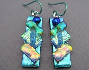 Fused dichroic glass earrings niobium ear wires dichroic earrings long dangle fused glass