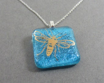 """Pale aqua dichroic glass pendant 22k gold bee 18"""" sterling silver chain necklace fused glass jewelry bumble bee"""