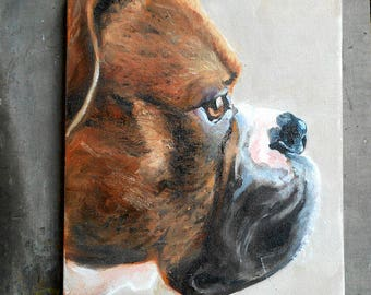 Custom Pet Portrait Painting,  Boxer Art or your dog's breed, Oil Painting Portraits, Animal Art