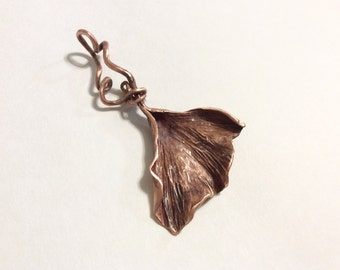 Forged copper ginkgo leaf pendant or keyfob