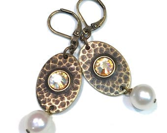 Hammered Brass Leverback Earrings With Swarovski Silk AB  Faceted Crystals and Pearls
