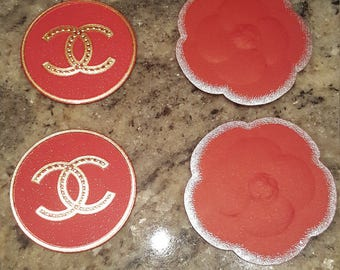 4 chanel CC camellia cardboard box sticker fancy AUTHENTIC logo supply gift wrap craft red gold silver