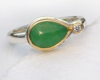 Chrysoprase and Diamond Ring | Size M or 6  | Handmade in the UK