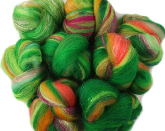 Lorax -- mini batts (2 oz.) organic polwarth wool, bamboo, silk, sparkle
