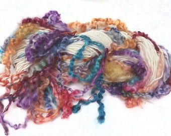 Handspun Art Yarn hand spun Merino wool & handdyed Wensleydale locks, curly yarn, tailspun, textured, curls