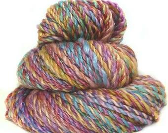 Handspun handdyed yarn Merino wool tencel plied hand spun yarn