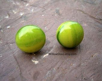 Fused Glass Earrings in Streaky Lime Green, pierced, post earrings, Glass Jewelry, Sterling Silver, Willow Glass