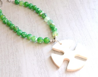The Ophelia- Bone Pendant and Green and White Agate Chain Necklace