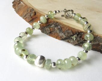 Dainty Green Prehnite Bracelet, Natural Prehnite, Woodland, Toggle Clasp, Pale Green, Gift for Her