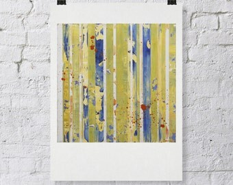 """Signed ABSTRACT PRINT of Original Painting """"Yimello"""" by Lisa Carney - Yellow modern stripe art - Contemporary Colorfield - 12x12"""""""