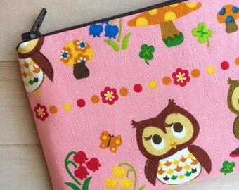 Owls zipper pouch - pink pouch - Change Purse - Pink Coin Purse - Cute - Kawaii - Kawaii pouch - Kawaii Bag - Under 10 Gift
