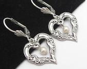 Art Nouveau Heart Earrings, Pearl Dangle Earrings, Antiqued Silver Plated Brass, Bridesmaid Gift, Bridal Wedding, Love Valentine Hawaiibeads