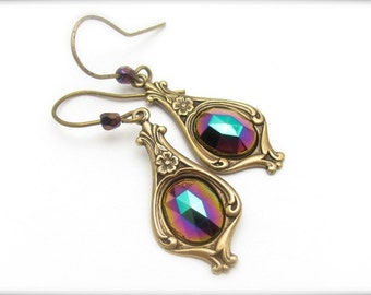 SALE Art Deco Earrings, Boho Bohemian Dangle Drops, Art Nouveau, Vintage Victorian Style, Antiqued Brass, Colorful Cabochon, Gift for Her