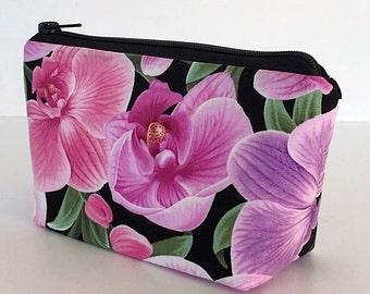 makeup bag, zipper bag, cosmetic bag, pink, lavender, orchids,, zipper pouch, toiletry bag, gift for women