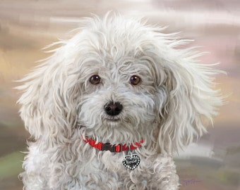 Pet Portrait, Realistic pet art, hand painted digital portrait, poodle portrait, Black Lab art, custom painting, lifelike memorial art