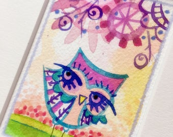 Small Owl art original watercolor painting matted illustration