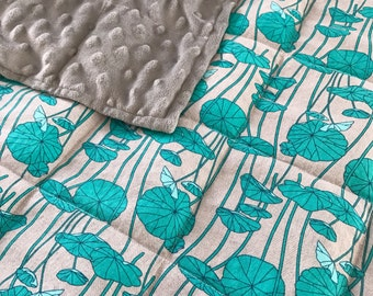 Weighted Blanket - Adult or Child - Aqua Flowers on Gray - COTTON fabric - Choose your weight (up to 15 lbs) and minky color - custom