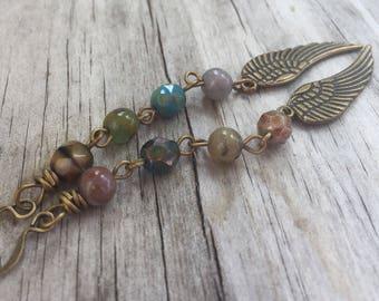 Long BOHEMIAN WINGS Earrings in Antique BRASS Bohemian Style Beaded Dangle Earrings