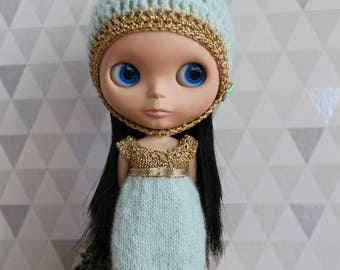Gold and Mint knit dress for Blythe