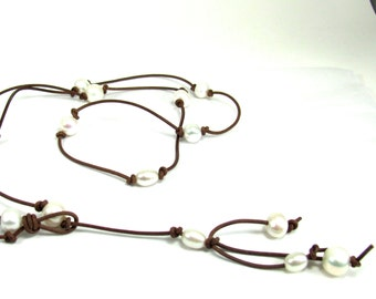 Pearl, Leather Lariat Necklace