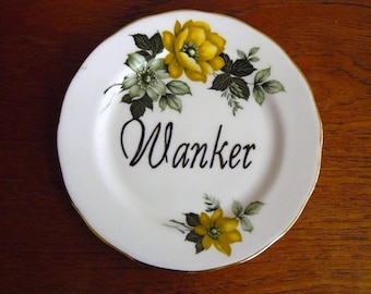 Wanker hand painted vintage bone china bread and butter plate with hanger recycled humor tosser display decor
