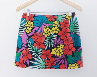 Tropical mini skirt black floral short skirt plain simple fitted skirt red yellow