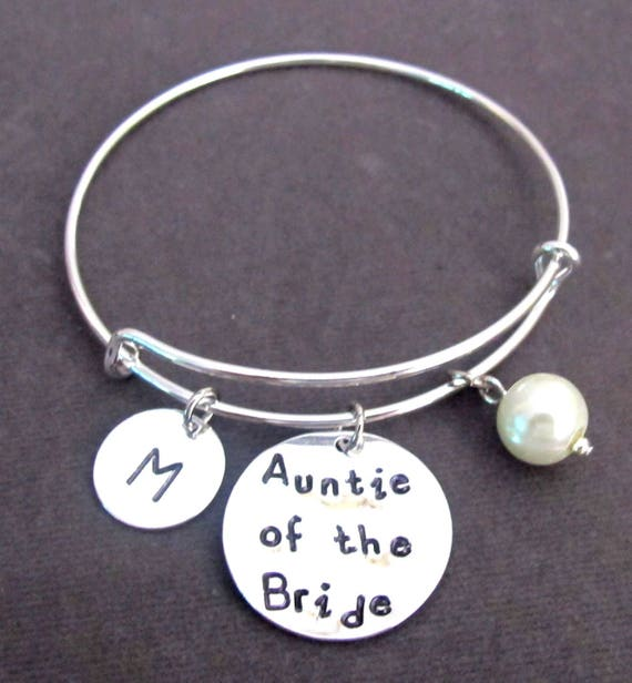 Auntie of the Bride Bracelet,Aunt of the Bride Bangle,Personalized Aunt Keepsake gift,Aunt Bracelet,Wedding Gift for Aunt,Free Shipping USA
