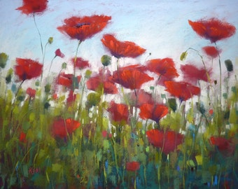 Original Pastel Painting Poppy RED 18x24  by Karen Margulis psa