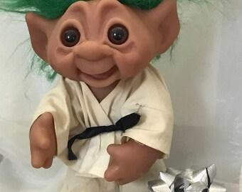 "Troll Doll Original Thomas Dam Troll Karate Oufit  10"" Tall Circa 1977 Denmark doll"