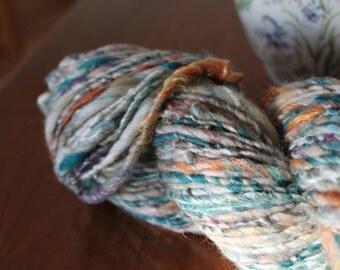 Handspun yarn, bulky, Merino wool, silk and mohair locks, 4.6oz - prairie