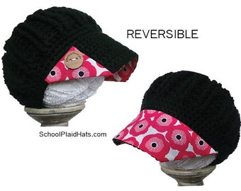 Marimekko style fabric brim, spring flower hat, baseball hat, wood buttons; womens newsboy hat; flower hat, mom gift for her, wholesale gift