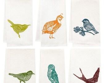 NEW ROOF SALE six pack of organic block print bird towels