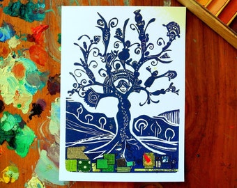 woman tree - 5 x 7 inches
