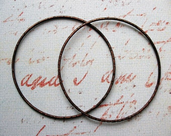 2 inch Hammered Soldered Copper Hoop Findings in Earthy Brown Patina - 1 pair - 16 gauge