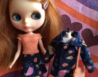 Blue Birds - 4 Piece coats set with coat, skirt, top & bag