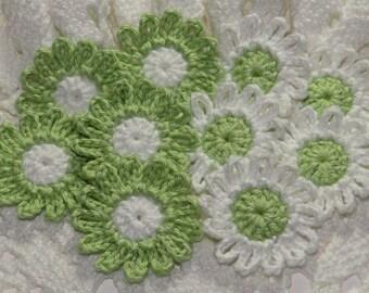 Crocheted Daisies Flower Applique Embellishment - LIME GREEN/WHITE - 10 Pcs