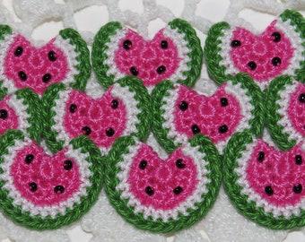 Crocheted Watermelons Applique Embellishment - PINK/GREEN- 10 Pcs