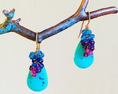 "Turquoise, Amethyst, Garnet, Lapis, Apatite  ""Trickle"" earrings"