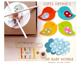 DIY Kit Making Your Own Bird Parade Baby Mobile, Decorative Mobile, Bird Theme Mobile, Mobile for Baby Nursery, Crafty Gift for New Mom