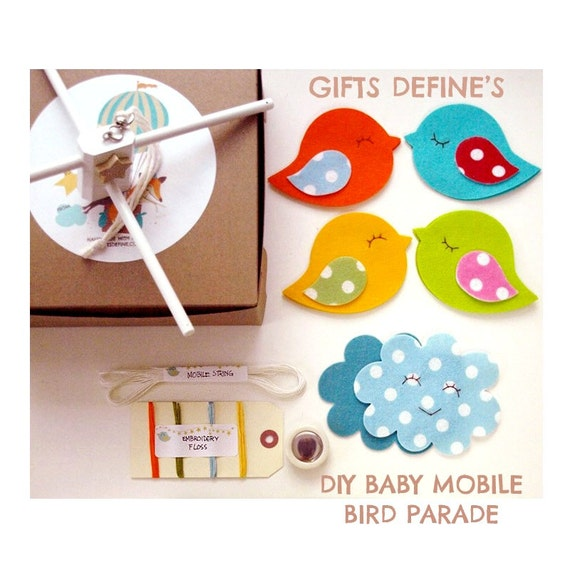 DIY Make Your Own Bird Parade Baby Mobile Kit, Sewing Kit Baby Mobile, Bird Theme Mobile, Mobile for Baby Nursery, Crafty Gift for New Mom